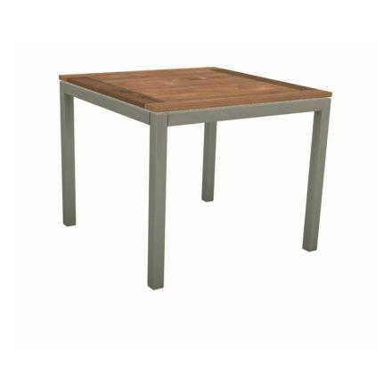 Stern Tischsystem, Gestell Aluminium graphit, Tischplatte Old Teak, Größe: 80x80 cm