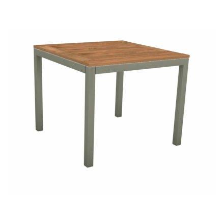 Stern Tischsystem, Gestell Aluminium graphit, Tischplatte Teakholz, Größe: 90x90 cm