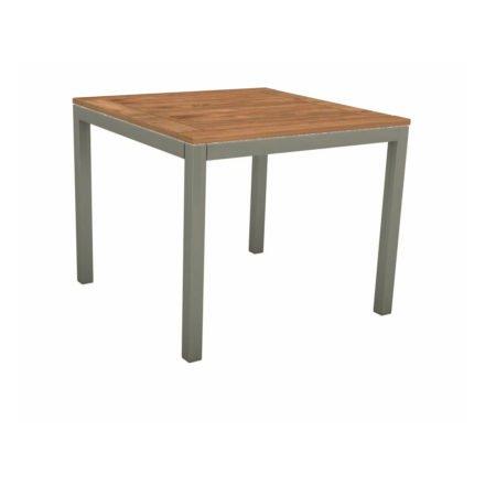 Stern Tischsystem, Gestell Aluminium graphit, Tischplatte Teakholz, Größe: 80x80 cm