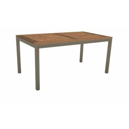 Stern Tischsystem, Gestell Aluminium taupe, Tischplatte Old Teak, Größe: 130x80 cm