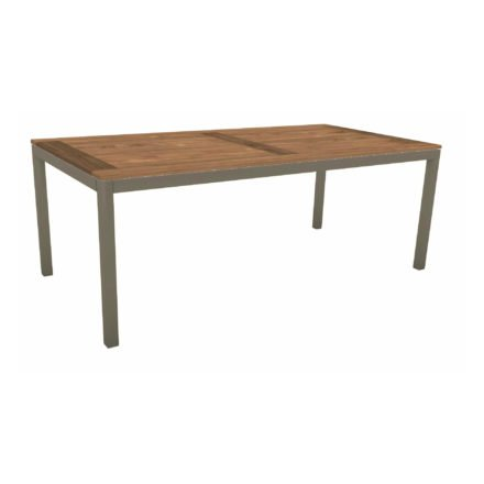 Stern Tischsystem, Gestell Aluminium taupe, Tischplatte Old Teak, Größe: 200x100 cm