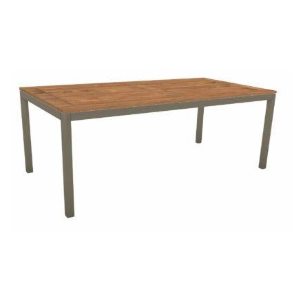 Stern Tischsystem, Gestell Aluminium taupe, Tischplatte Teakholz, Größe: 200x100 cm