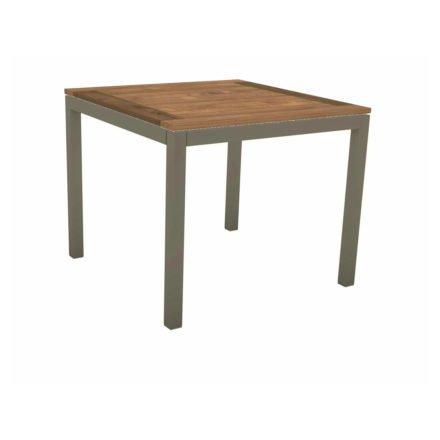 Stern Tischsystem, Gestell Aluminium taupe, Tischplatte Old Teak, Größe: 90x90 cm