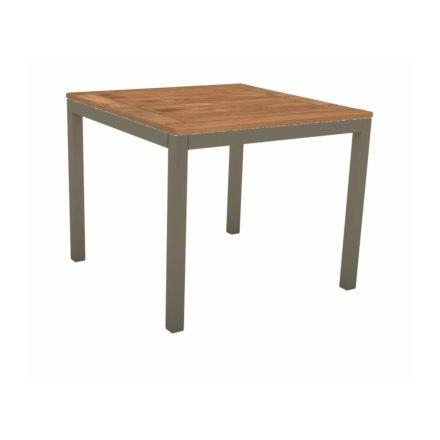 Stern Tischsystem, Gestell Aluminium taupe, Tischplatte Teakholz, Größe: 80x80 cm