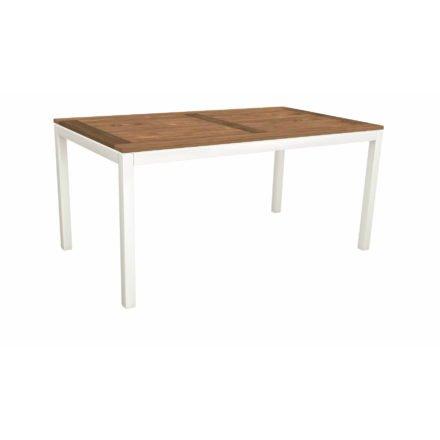 Stern Tischsystem, Gestell Aluminium weiß, Tischplatte Old Teak, Größe: 160x90 cm