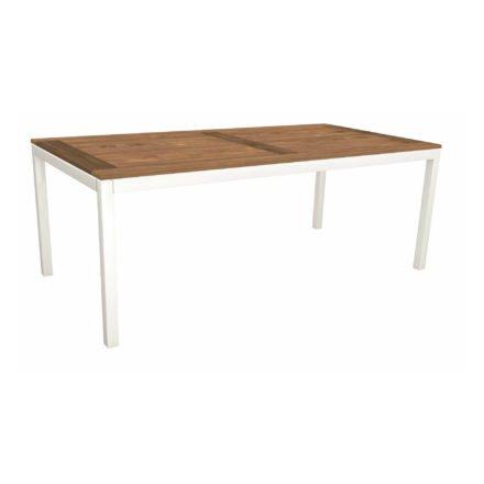 Stern Tischsystem, Gestell Aluminium weiß, Tischplatte Old Teak, Größe: 200x100 cm