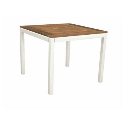 Stern Tischsystem, Gestell Aluminium weiß, Tischplatte Old Teak, Größe: 90x90 cm