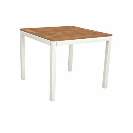 Stern Tischsystem, Gestell Aluminium weiß, Tischplatte Teakholz, Größe: 90x90 cm