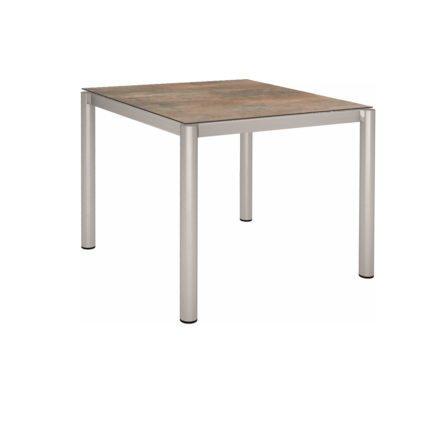 Stern Tischsystem, Gestell Edelstahl Rundrohr, Tischplatte HPL Ferro, 90x90 cm