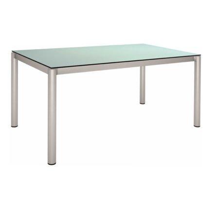 Stern Tischsystem, Gestell Edelstahl Rundrohr, HPL Nordic green, 160x90 cm