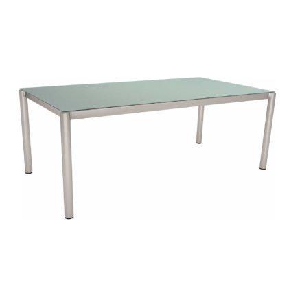 Stern Tischsystem, Gestell Edelstahl Rundrohr, HPL Nordic green, 200x100 cm