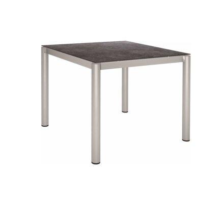 Stern Tischsystem, Gestell Edelstahl Rundrohr, Tischplatte HPL Vintage grau, 90x90 cm