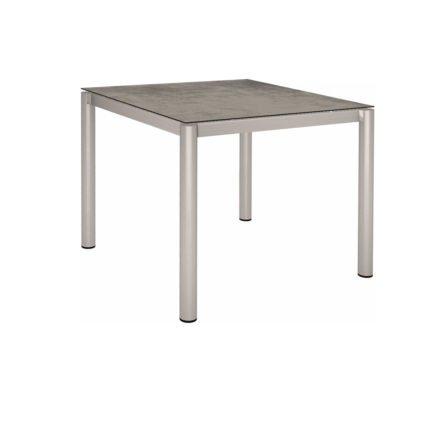 Stern Tischsystem, Gestell Edelstahl Rundrohr, Tischplatte HPL Zement, 90x90 cm