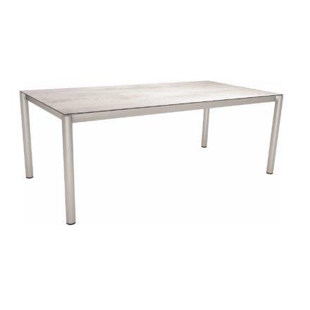 Stern Tischsystem, Gestell Edelstahl Rundrohr, Tischplatte HPL Zement hell, 200x100 cm