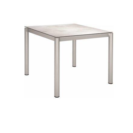 Stern Tischsystem, Gestell Edelstahl Rundrohr, Tischplatte HPL Zement hell, 90x90 cm
