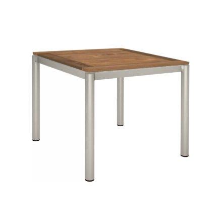 Stern Tischsystem, Gestell Edelstahl Rundrohr, Tischplatte Old Teak, Größe: 90x90 cm