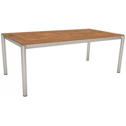 Stern Tischsystem, Gestell Edelstahl Rundrohr, Tischplatte Teak, Größe: 200x100 cm