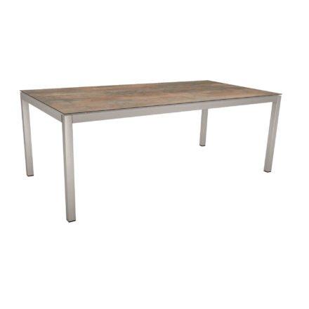 Stern Tischsystem, Gestell Edelstahl Vierkantrohr, Tischplatte HPL Ferro, 200x100 cm
