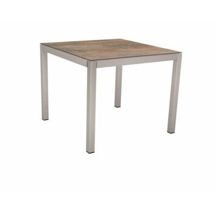 Stern Tischsystem, Gestell Edelstahl Vierkantrohr, Tischplatte HPL Ferro, 80x80 cm