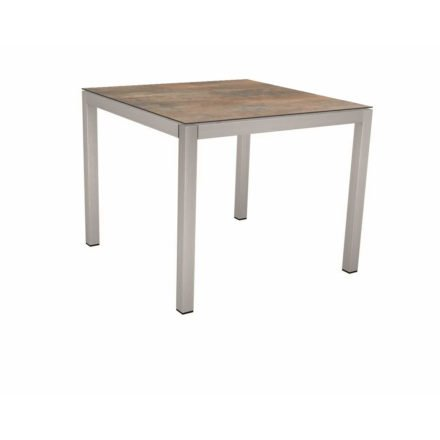 Stern Tischsystem, Gestell Edelstahl Vierkantrohr, Tischplatte HPL Ferro, 90x90 cm