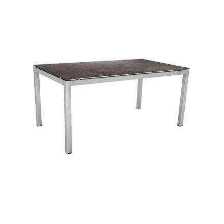 Stern Tischsystem, Gestell Edelstahl Vierkantrohr, Tischplatte HPL Vintage grau, 160x90 cm