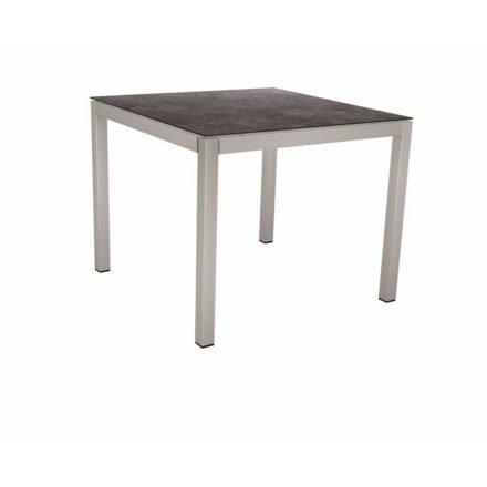 Stern Tischsystem, Gestell Edelstahl Vierkantrohr, Tischplatte HPL Vintage grau, 80x80 cm
