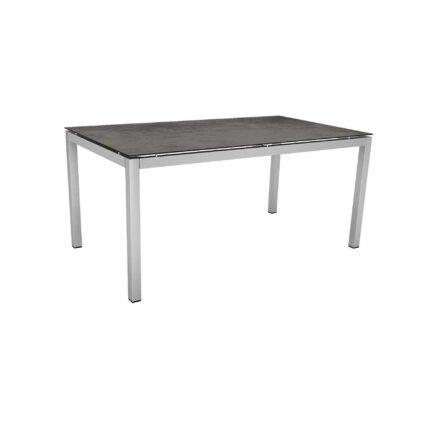 Stern Tischsystem, Gestell Edelstahl Vierkantrohr, Tischplatte HPL Zement 160x90 cm
