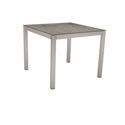 Stern Tischsystem, Gestell Edelstahl Vierkantrohr, Tischplatte HPL Zement 90x90 cm