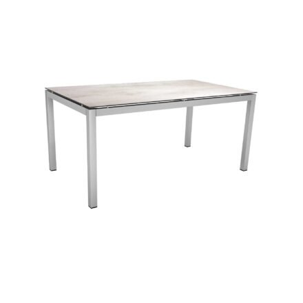 Stern Tischsystem, Gestell Edelstahl Vierkantrohr, Tischplatte HPL Zement hell, 160x90 cm