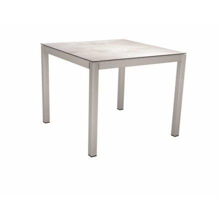 Stern Tischsystem, Gestell Edelstahl Vierkantrohr, Tischplatte HPL Zement hell, 80x80 cm