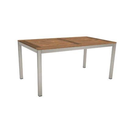 Stern Tischsystem, Gestell Edelstahl Vierkantrohr, Tischplatte Old Teak, Größe: 160x90 cm