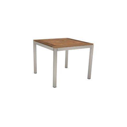 Stern Tischsystem, Gestell Edelstahl Vierkantrohr, Tischplatte Old Teak, Größe: 90x90 cm