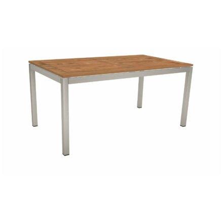 Stern Tischsystem, Gestell Edelstahl Vierkantrohr, Tischplatte Teak, Größe: 130x80 cm