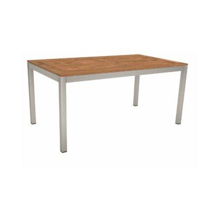 Stern Tischsystem, Gestell Edelstahl Vierkantrohr, Tischplatte Teak, Größe: 160x90 cm