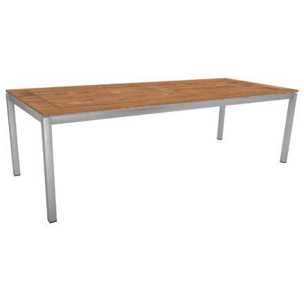 Stern Tischsystem, Gestell Edelstahl Vierkantrohr, Tischplatte Teak, Größe: 250x100 cm