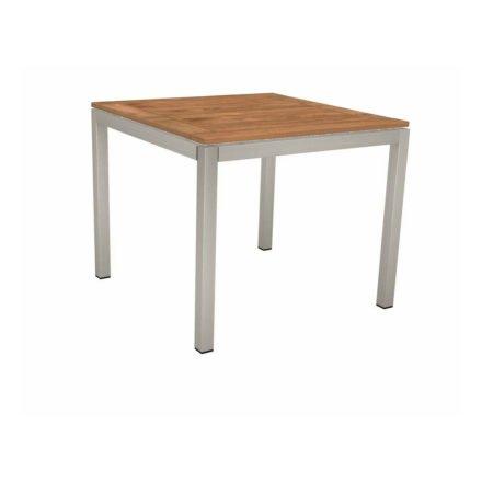 Stern Tischsystem, Gestell Edelstahl Vierkantrohr, Tischplatte Teak, Größe: 80x80 cm