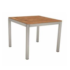 Stern Tischsystem, Gestell Edelstahl Vierkantrohr, Tischplatte Teak, Größe: 90x90 cm