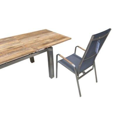 """Diamond Garden """"Levanto"""" Ausziehtisch, Gestell Edelstahl gebürstet, Tischplatte Teakholz recycelt, Detail zusätzlicher Sitzplatz"""