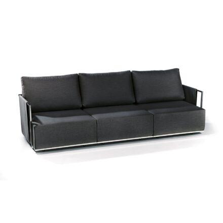"""Fischer Möbel """"Suite"""" Lounge 3-Sitzer bestehend aus einem Seitenteil mit Armlehne rechts und einem Seitenteil mit Armlehne links sowie einem Mittelmodul, Ausführung Edelstahl anthrazit matt Strukturlack"""