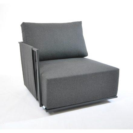 """Fischer Möbel """"Suite"""" Lounge Seitenteil mit Armlehne rechts, Ausführung Edelstahl anthrazit matt Strukturlack"""
