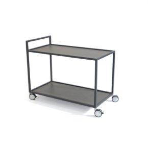 """Fischer Möbel Servierwagen """"Rio"""", Aluminium anthrazit, fm-laminat spezial graphite metallic"""
