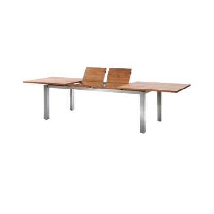 "Diamond Garden Gartentisch ""Levanto"", Gestell Edelstahl, Tischplatte Teakholz recycelt, 220/320x100 cm"