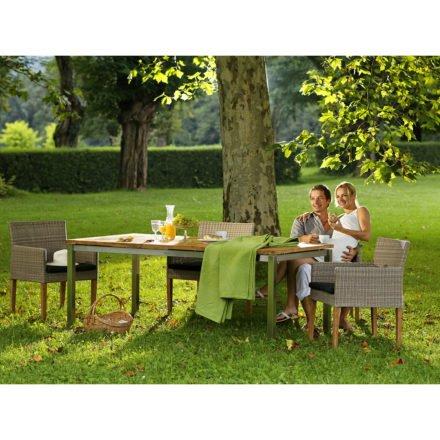 """Diamond Garden Gartentisch """"San Marino"""" mit Tischplatte Old Teak natur und Gartenstuhl """"Rimini"""""""