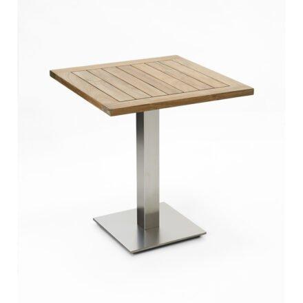 """Niehoff Tisch """"Bistro"""", Tischplatte Teak recycelt, eckig, 68 cm"""
