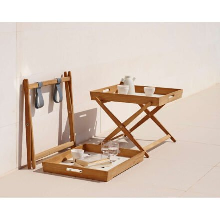 """Beistelltisch """"Amaze"""" von Cane-Line, Gestell aus Teakholz, Tischplatte aus Aluminium"""