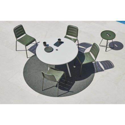 """Cane-line """"Copenhagen"""" Gartenstuhl (City Chair), Aluminium olive green und lavagrau und Gartentisch """"Area"""""""