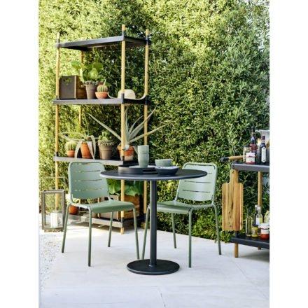 """Cane-line """"Copenhagen"""" Gartenstuhl (City Chair), Aluminium olive green und Bistrotisch """"Go"""""""