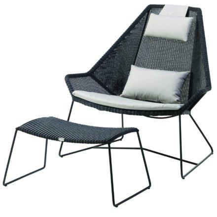"""Gartenhocker und Loungesessel """"Breeze"""" von Cane-line, Gestell Stahl schwarz, Sitzfläche Polyrattan schwarz"""