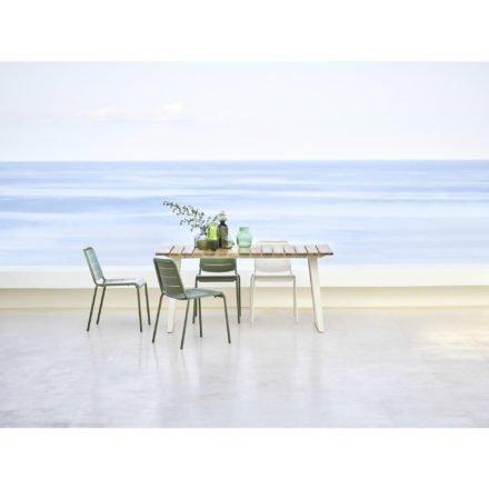 """Cane-line Gartentisch """"Copenhagen"""", Gestell Aluminium weiß, Tischplatte Teakholz und Gartenstuhl """"Copenhagen"""" (City Chair) Aluminium olive green und weiß"""