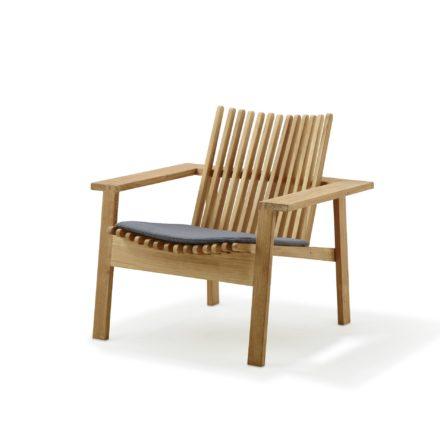 Loungesessel Amaze von Cane-Line, Teakholz, mit Sitzkissen grau